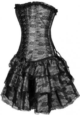 Bettydom Damen Partykleid Gothic Korsett mit G-String Korsagen(Large,Schwarz) - 1