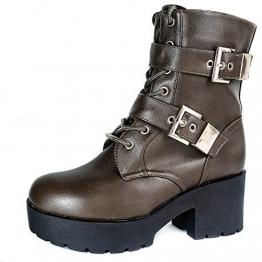 CD5 Damen Boots Stiefeletten Stiefel Plateau Biker Gothic dicke Sohle (38, Khaki) - 1