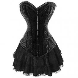 Corsagenkleid Stahl Corsage & Rock Korsett Bustier Top Kleid Schwarz Gothic (EUR(38-40)XL, Schwarz) - 1