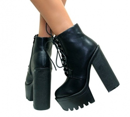 Damen Ankle Boots - Blockabsatz & Plateau massiv - Schnürung - Sohle mit Rillen - mattschwarz - EUR 39 - 1