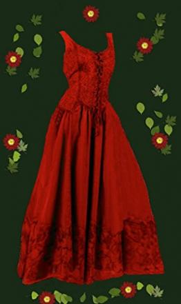 Dark Dreams Kleid Mittelalter Gothic Schnürung Audry schwarz rot grün 36 38 40 42 44 46, Größe:S/M;Farbe:rot - 1