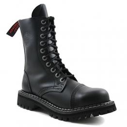 Angry Itch - 10-Loch Gothic Punk Army Ranger Armee Leder Schwarz Stiefel mit Stahlkappe - Größen 36-48 - Made in EU!, EU-Größe:EU-43 -