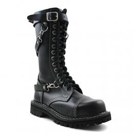 Angry Itch - 14-Loch 3 Riemen Gothic Punk Army Ranger Armee Leder Schwarz Stiefel mit RV & Stahlkappe - Größen 36-48 - Made in EU!, EU-Größe:EU-43 -