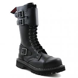 Angry Itch - 14-Loch mit Frontplatte Gothic Punk Army Ranger Armee Leder Schwarz Stiefel mit RV & Stahlkappe - Größen 36-48 - Made in EU!, EU-Größe:EU-45 -