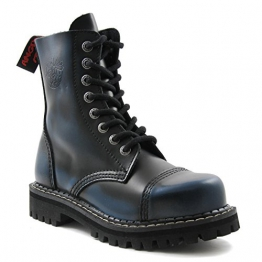 Angry Itch - 8-Loch Gothic Punk Army Ranger Armee Blau Rub-Off Leder Stiefel mit Stahlkappe 36-48 - Made in EU!, EU-Größe:EU-38 -