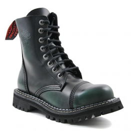 Angry Itch - 8-Loch Gothic Punk Army Ranger Armee Dark Green Rub-Off Leder Stiefel mit Stahlkappe 36-48 - Made in EU!, EU-Größe:EU-47 -