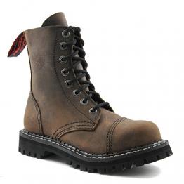 Angry Itch - 8-Loch Gothic Punk Army Ranger Armee Vintage Braun Leder Stiefel mit Stahlkappe 36-48 - Made in EU!, EU-Größe:EU-40 -