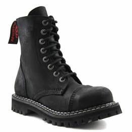 Angry Itch - 8-Loch Gothic Punk Army Ranger Armee Vintage Leder Schwarz Stiefel mit Stahlkappe 36-48 - Made in EU!, EU-Größe:EU-37 -