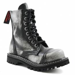 Angry Itch - 8-Loch Gothic Punk Army Ranger Armee Weiss Rub-Off Leder Stiefel mit Stahlkappe 36-48 - Made in EU!, EU-Größe:EU-47 -