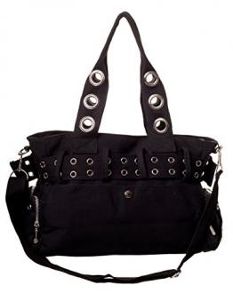Banned Gothic Damen Handtasche - Schultertasche Handschellen und Nieten Schwarz - 1