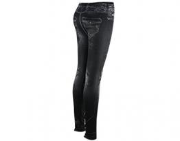 BONAMART ® Damen Gothic Punk Sexy Baumwoll Leggings Lang Jeanslook Jeansoptik Jeans Style Tattoo Schwarz Leggins Blickdicht - 1