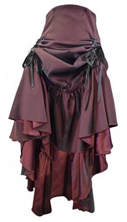 Burgund (Red, 3 Ways Frieda) Vielseitig, Gothic/Steampunk Stil Rüschenrock mit Korsett Schnürung. Größe 52 - 1