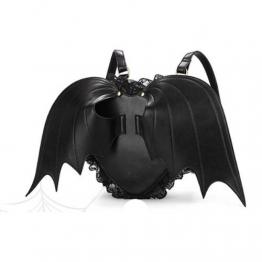 Coofit® Hot schwarze Fledermaus Herzen Rucksack Flügel gotische Goth Punk Spitzen Lolita Visual Kei Tasche - 1
