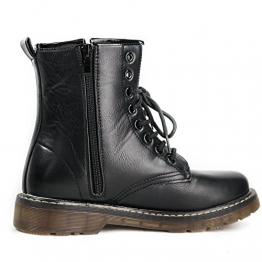 Damen Stiefel warm gefüttert Boots Stiefeletten Schnürboots Gothic Punk BK3 (36, BK3 Schwarz) - 1