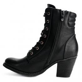 Damen Stiefeletten Boots Stiefel High Heels Biker Schnürboots Gothic (36, C15 Schwarz) - 1