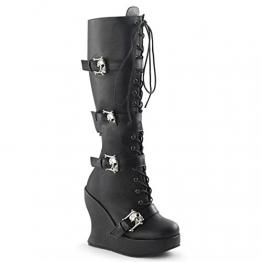 Demonia Bravo-109 - Gothic Punk Industrial Wedge-Plateau Stiefel 36-42, Größe:EU-38 / US-8 / UK-5 - 1
