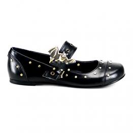 Demonia Daisy-02 - Gothic Punk Industrial Ballerinas Schuhe 36-43, Größe:EU-37 / US-7 / UK-4 - 1