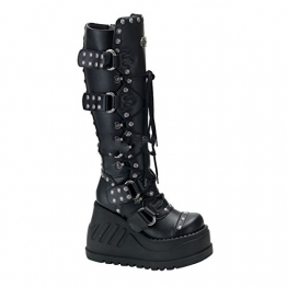 Demonia Stomp-313 - Gothic Indutrial Punk Wedge-Plateau Stiefel Schuhe 36-42, Größe:EU-39 / US-9 / UK-6 - 1