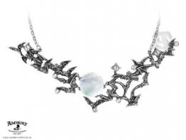 Alchemy Gothic Halskette Twilight mit Perlmutt-Mond und Swarovski-Kristallen - 1