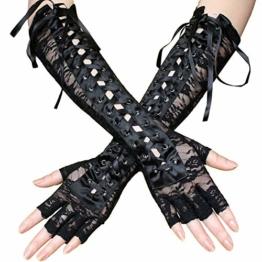 Amorar Frauen-reizvolle Schnürsenkel-Handschuh-Niet-halbe Finger-Abend-Partei-Formale Brauthandschuhe Lange Kostümhandschuhe,EINWEG Verpackung - 1