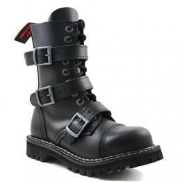 Angry Itch - 10-Loch 3-Buckle Gothic Punk Army Ranger Leder Schwarz Schnallen Armee Stiefel mit RV & Stahlkappe 36-48 - Made in EU!, EU-Größe:EU-40 -