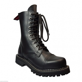 Angry Itch 10 Loch schwarz Kampf Leder Armee Ranger Stiefel Stahlkappe Punk (41) -