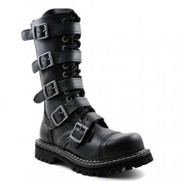 Angry Itch - 14-Loch 5-Buckle Gothic Punk Army Ranger Leder Schwarz Schnallen Armee Stiefel mit RV & Stahlkappe 36-48 - Made in EU!, EU-Größe:EU-42 -
