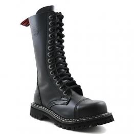 Angry Itch - 14-Loch Gothic Punk Army Ranger Armee Leder Schwarz Stiefel mit RV & Stahlkappe - Größen 36-48 - Made in EU!, EU-Größe:EU-39 -