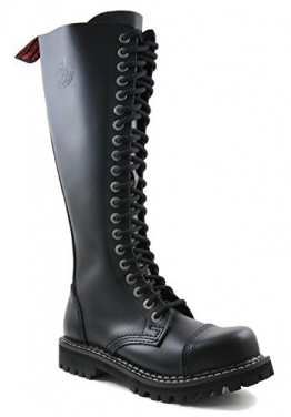 ANGRY ITCH - 20-Loch Gothic Punk Army Ranger Armee Leder Stiefel mit Stahlkappe, EU 42 -