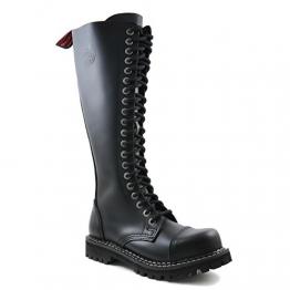 Angry Itch - 20-Loch Gothic Punk Army Ranger Leder Schwarz Armee Stiefel mit RV & Stahlkappe - Größen 36-48 - Made in EU!, EU-Größe:EU-39 -