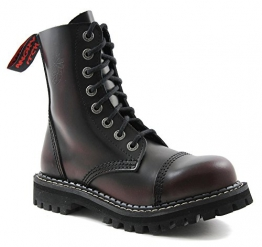 ANGRY ITCH - 8-Loch Burgundy Red Rub-Off Gothic Punk Army Ranger Armee Leder Stiefel mit Stahlkappe, EU 36 -
