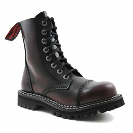 Angry Itch - 8-Loch Gothic Punk Army Ranger Armee Burgundy Rot Rub-Off Leder Stiefel mit Stahlkappe 36-48 - Made in EU!, EU-Größe:EU-39 -