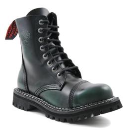 ANGRY ITCH - 8-Loch Gothic Punk Army Ranger Armee Dark Green Rub-Off Leder Stiefel mit Stahlkappe 36-48 - Made in EU!, EU-Größe:EU-39 - 1