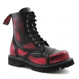 Angry Itch - 8-Loch Gothic Punk Army Ranger Armee Pink Rub-Off Leder Stiefel mit Stahlkappe 36-48 - Made in EU!, EU-Größe:EU-43 -
