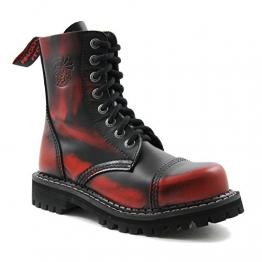 Angry Itch - 8-Loch Gothic Punk Army Ranger Armee Rot Rub-Off Leder Stiefel mit Stahlkappe 36-48 - Made in EU!, EU-Größe:EU-43 -