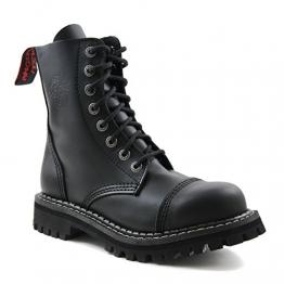 Angry Itch - 8-Loch Gothic Punk Army Ranger Armee schwarze Leder Stiefel mit Stahlkappe 36-48 - Made in EU!, EU-Größe:EU-46 -