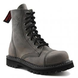 Angry Itch - 8-Loch Gothic Punk Army Ranger Armee Vintage Grau Leder Stiefel mit Stahlkappe 36-48 - Made in EU!, EU-Größe:EU-46 -