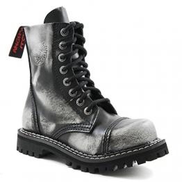 Angry Itch - 8-Loch Gothic Punk Army Ranger Armee Weiss Rub-Off Leder Stiefel mit Stahlkappe 36-48 - Made in EU!, EU-Größe:EU-47 -