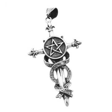 Anhänger Pentagramm Schwert Kreuz Fortuna Edelstahl Halskette Lederkette Gothic Fleur de Lis Kugelkette Damen Herren Silber-nur-anhänger - 2
