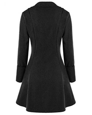 Damen Mittelalterliches Vintage Frack Jacke Gothic Unregelmäßig Steampunk Mantel Coat Uniform Kostüm Schwarz XL - 2