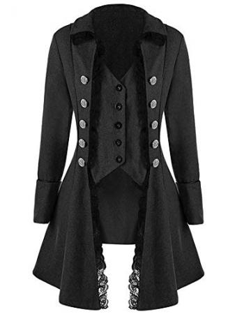 Damen Mittelalterliches Vintage Frack Jacke Gothic Unregelmäßig Steampunk Mantel Coat Uniform Kostüm Schwarz XL - 1