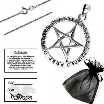DarkDragon Anhänger Runen Pentagramm der 5 Elemente Keltischer 925er Silber Schmuck - Schutz - mit Kette Halskette Silberkette Schmucksäckchen und Karte 1009 - 2
