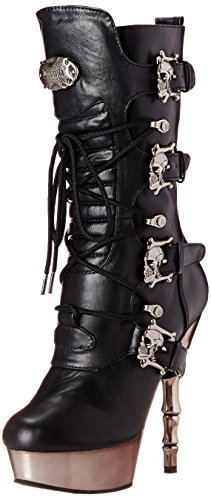 Demonia Damen MUERTO-1026 Kurzschaft Stiefel, Schwarz (Blk Vegan Leather/Pewter Chrome), 37 EU - 1