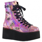 Demonia Gothic Lolita Ankle Boots Grip-103 pink Holo Gr.37 - 1