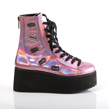 Demonia Gothic Lolita Ankle Boots Grip-103 pink Holo Gr.37 - 5