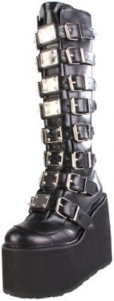 Demonia SWING-815, Damen Langschaft Stiefel, Schwarz (Schwarz (Blk Vegan Leather)), 38 EU (5 Damen UK) - 1