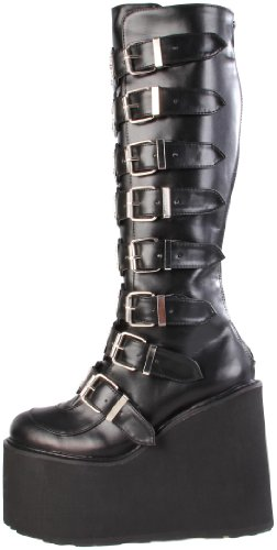 Demonia SWING-815, Damen Langschaft Stiefel, Schwarz (Schwarz (Blk Vegan Leather)), 38 EU (5 Damen UK) - 5