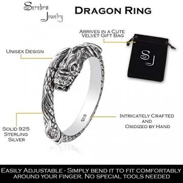 Drachen Ring aus 925 Sterlingsilber Größenverstellbar Unisex Silber Herren Damen by Serebra Jewelry - 2