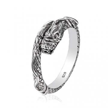 Drachen Ring aus 925 Sterlingsilber Größenverstellbar Unisex Silber Herren Damen by Serebra Jewelry - 1