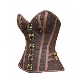 FeelinGirl Damen Vintage Corsage Top Korsett Steampunk Gothic Punk Korsage S Braun - 1